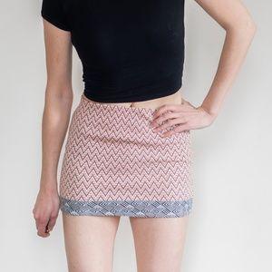 *zara* trafaluc chevron aztec print body con skirt